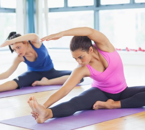 Ladies in a pilate class