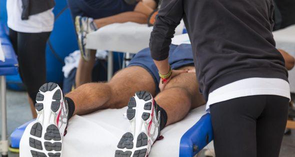 Sports massage on inside upper thigh